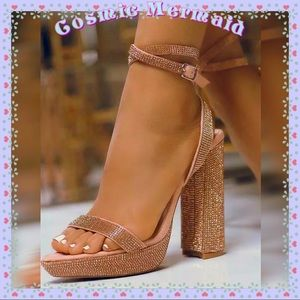 Shoes - 🆕💖💎Glam Rose Gold & Tan Rhinestone Heels💎💖
